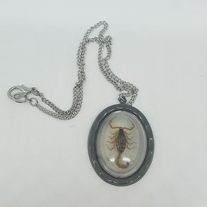 White grey scorpion necklace oval new